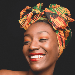 Head Scarves With African Kente Silky Satin.